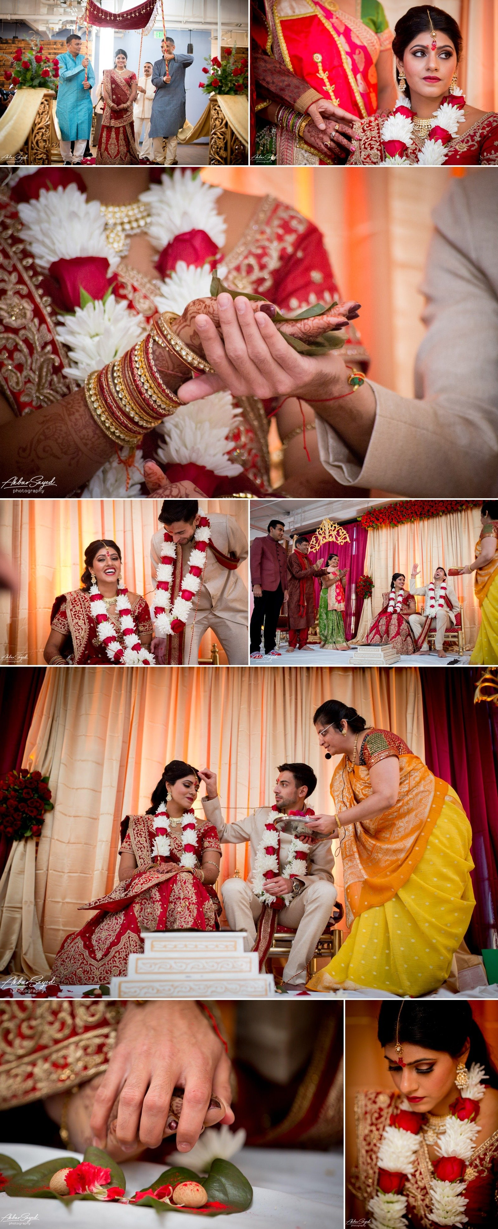A photo collage of a Indian Bride and Iranian groom during their Hindu wedding ceremony at the American Visionary Art Museum in Baltimore, Maryland.