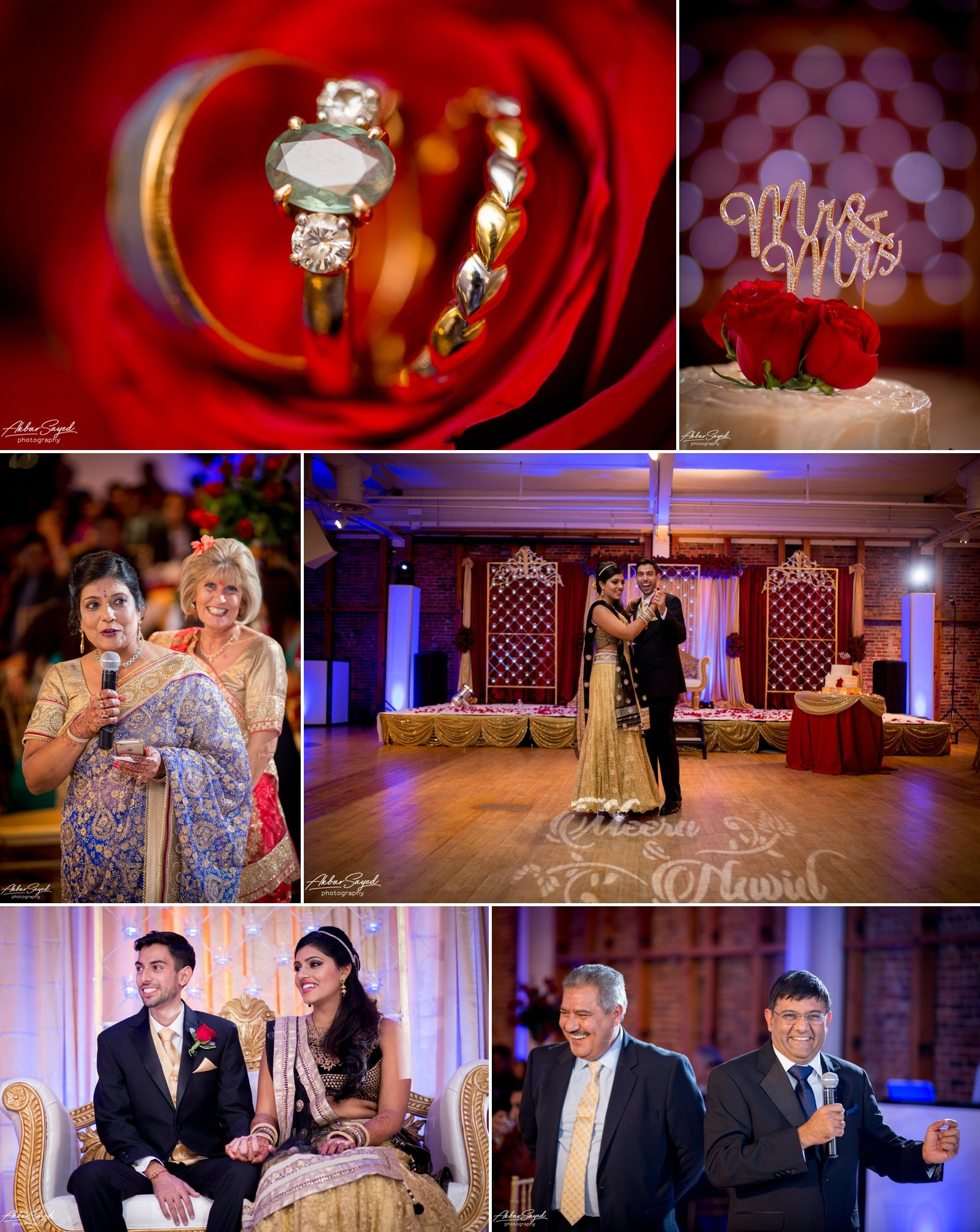 A photo collage of a Indian Bride and Iranian groom at their wedding reception at the American Visionary Art Museum in Baltimore, Maryland.