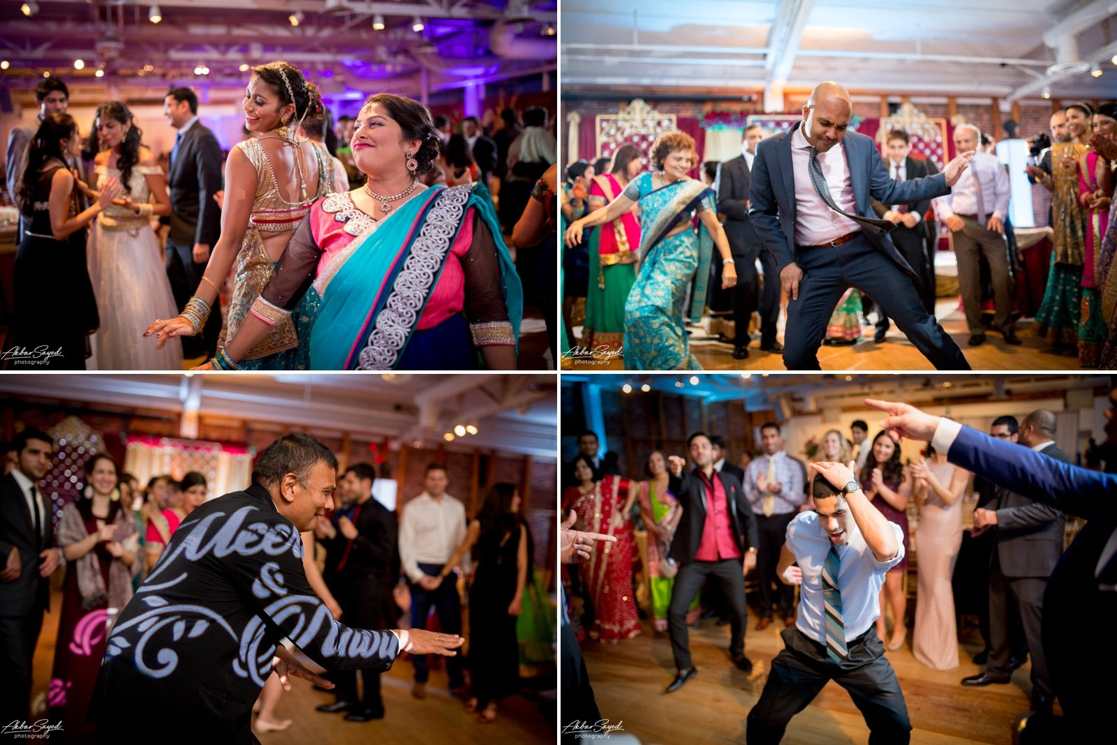 A photo collage of dancing at a Indian Iranian fusion wedding reception at the American Visionary Art Museum in Baltimore, Maryland.