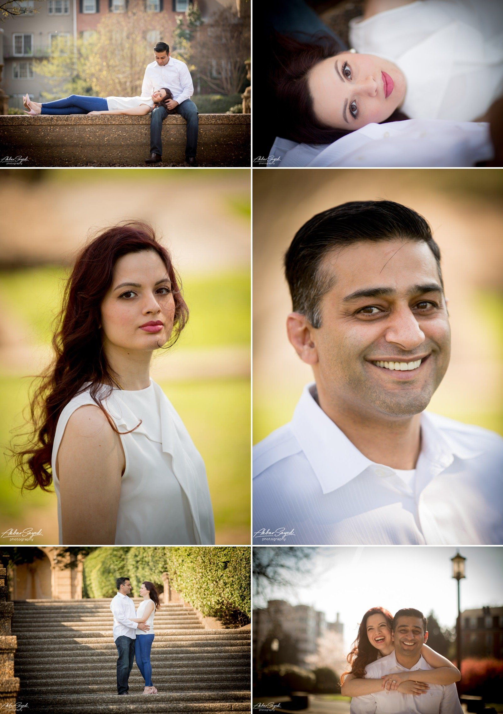 A collage of couples portraits on their anniversary at Meridian Hill Park in Washington D.C.