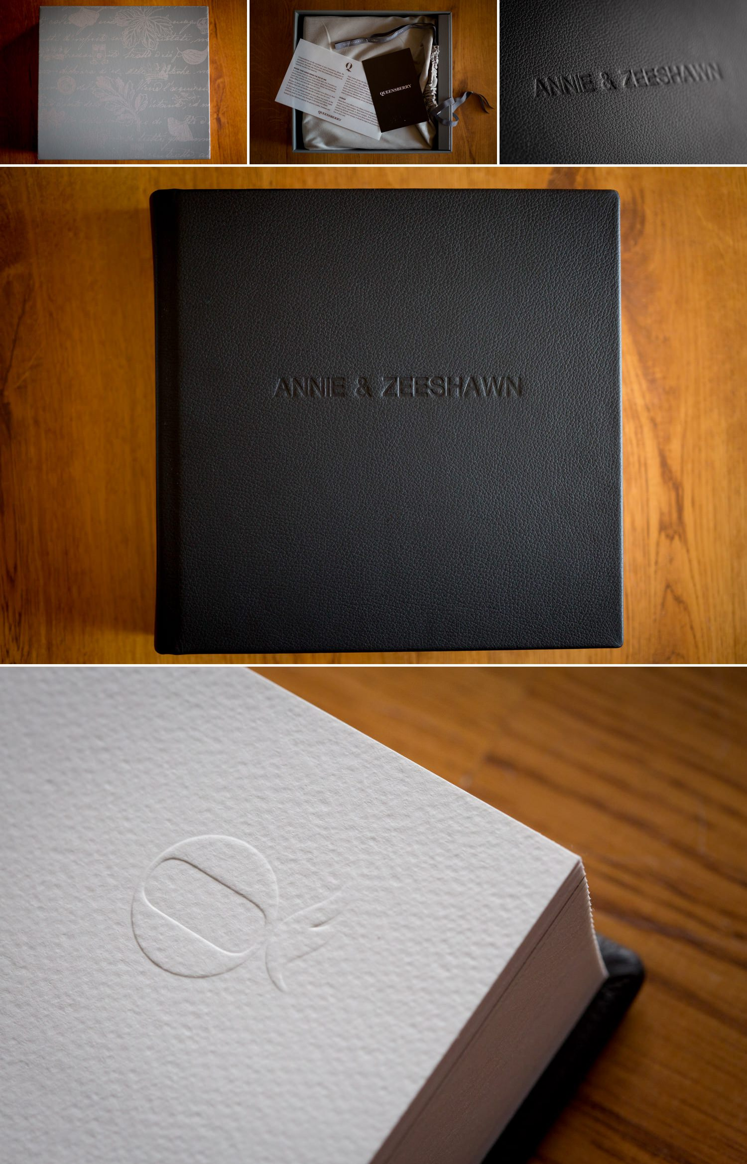 A photo collage of a leather bound wedding album.