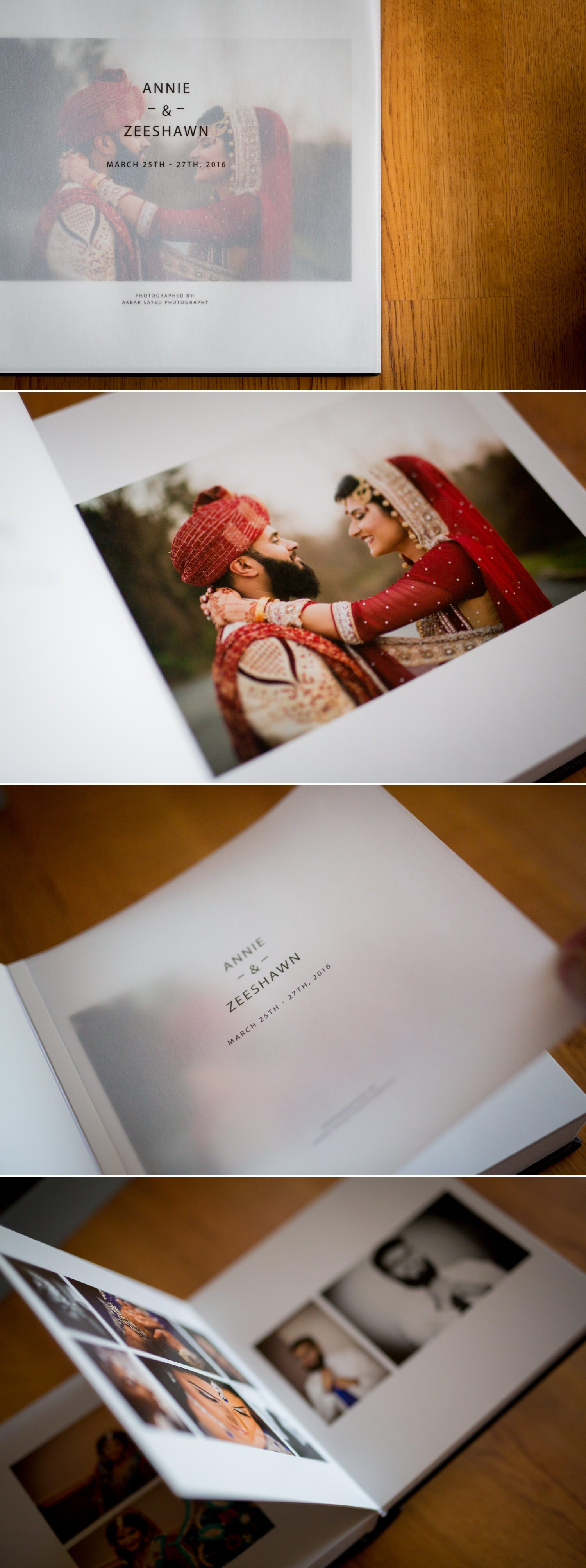 A flushmount wedding photo album showing an Indian bride and Groom.