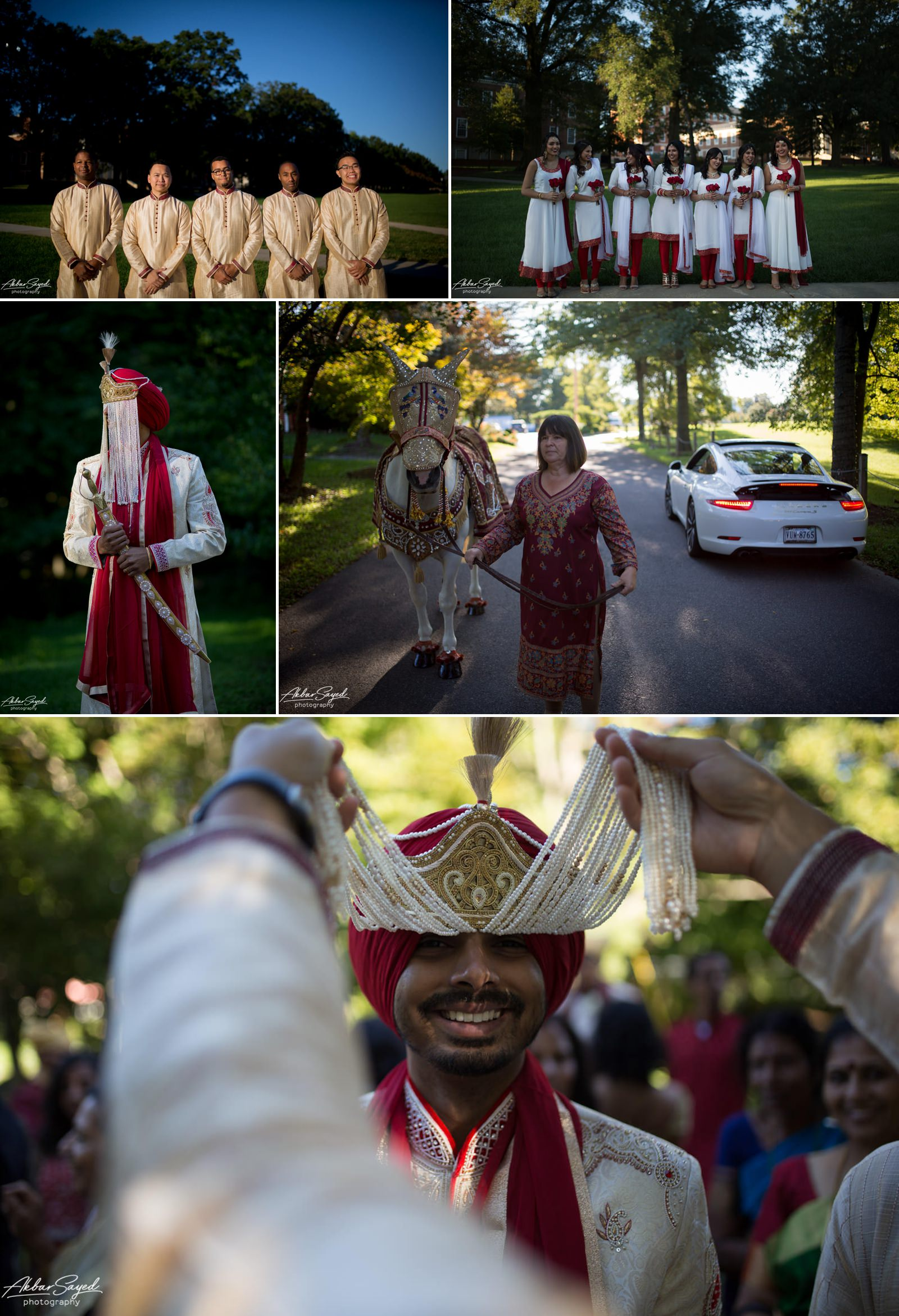 A photo collage of a couple during their Hindu - Sikh wedding at Guru Nanak Foundation of America and The Villa in the Washington D.C. area.