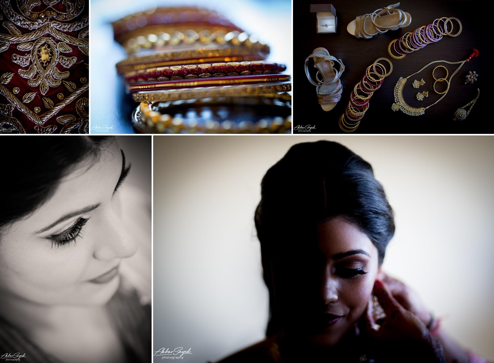 A photo collage of a Indian Bride getting ready for her wedding at the American Visionary Art Museum in Baltimore, Maryland.