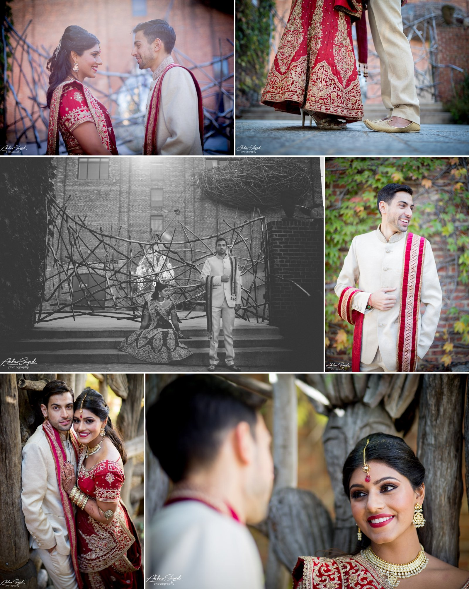 A photo collage of a Indian Bride and Iranian groom during their portrait session at their wedding at the American Visionary Art Museum in Baltimore, Maryland.