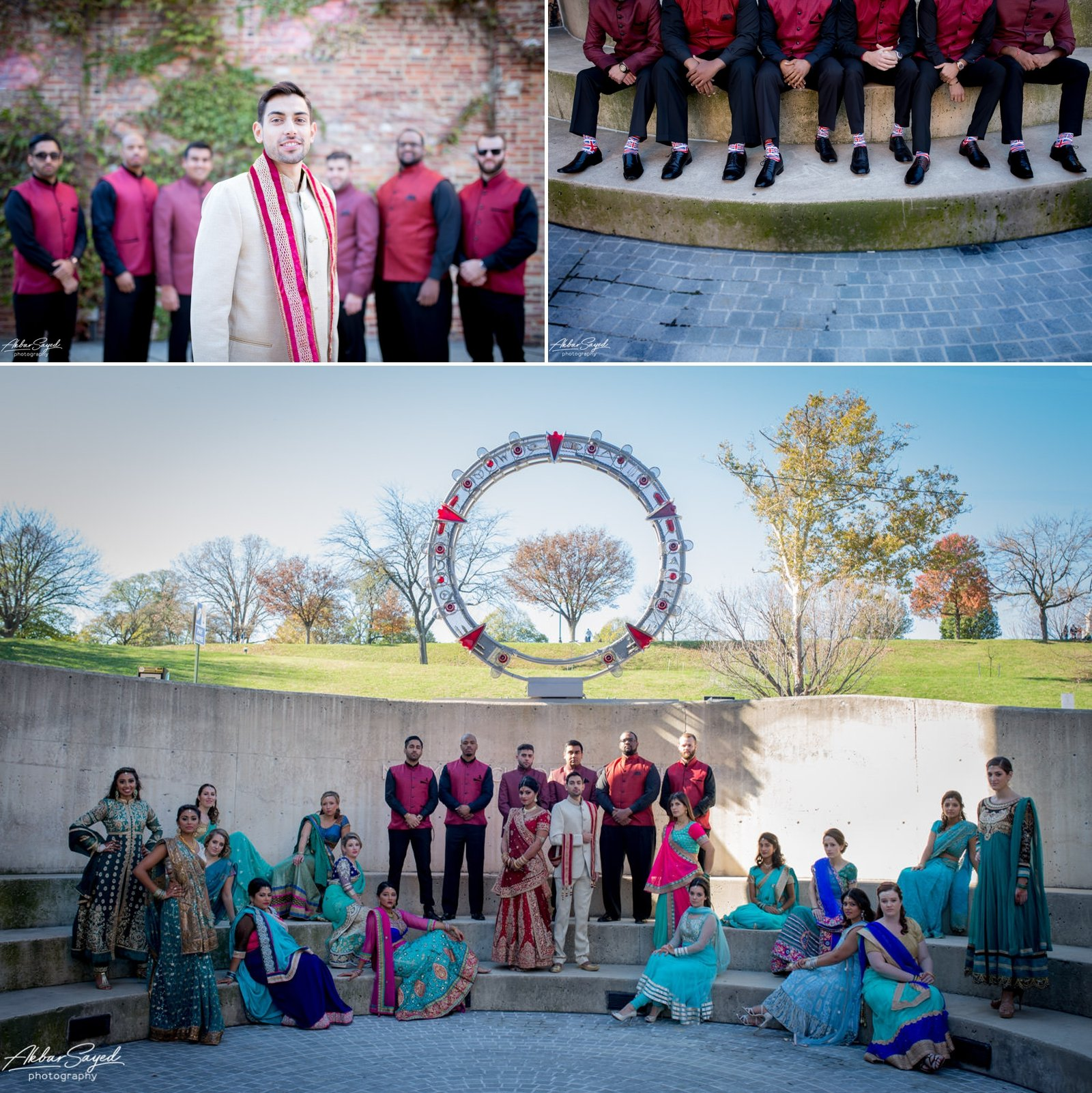 A photo collage of a Indian Bride and Iranian groom and bridal party at the American Visionary Art Museum in Baltimore, Maryland.