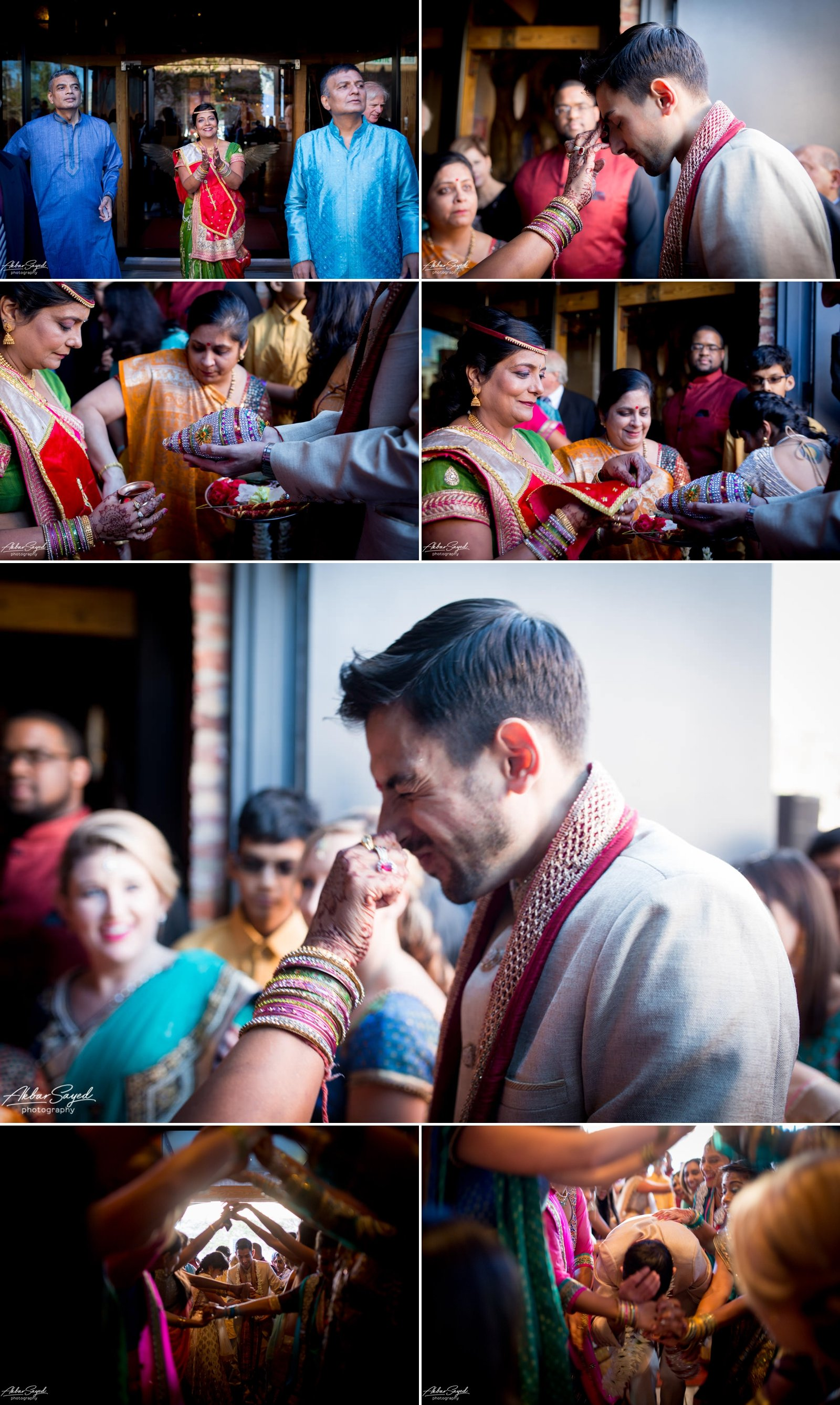 A photo collage of a Iranian groom getting blessed by a Hindu Priestess at his Hindu wedding American Visionary Art Museum in Baltimore, Maryland.