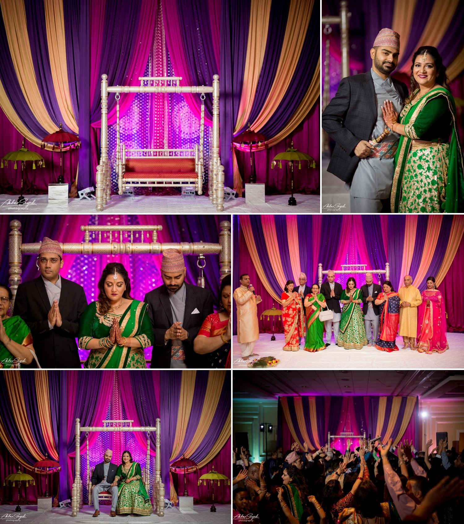 A photo collage of South Asian Hindu sangeet decor created by L'Ambiance wedding decor at the BWI Marriott.