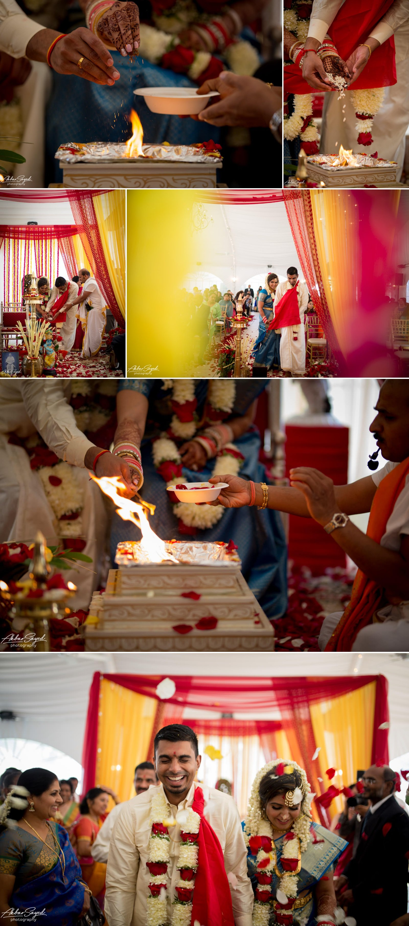 A photo collage of a couple during their Hindu wedding at The Villa in Silver Spring.