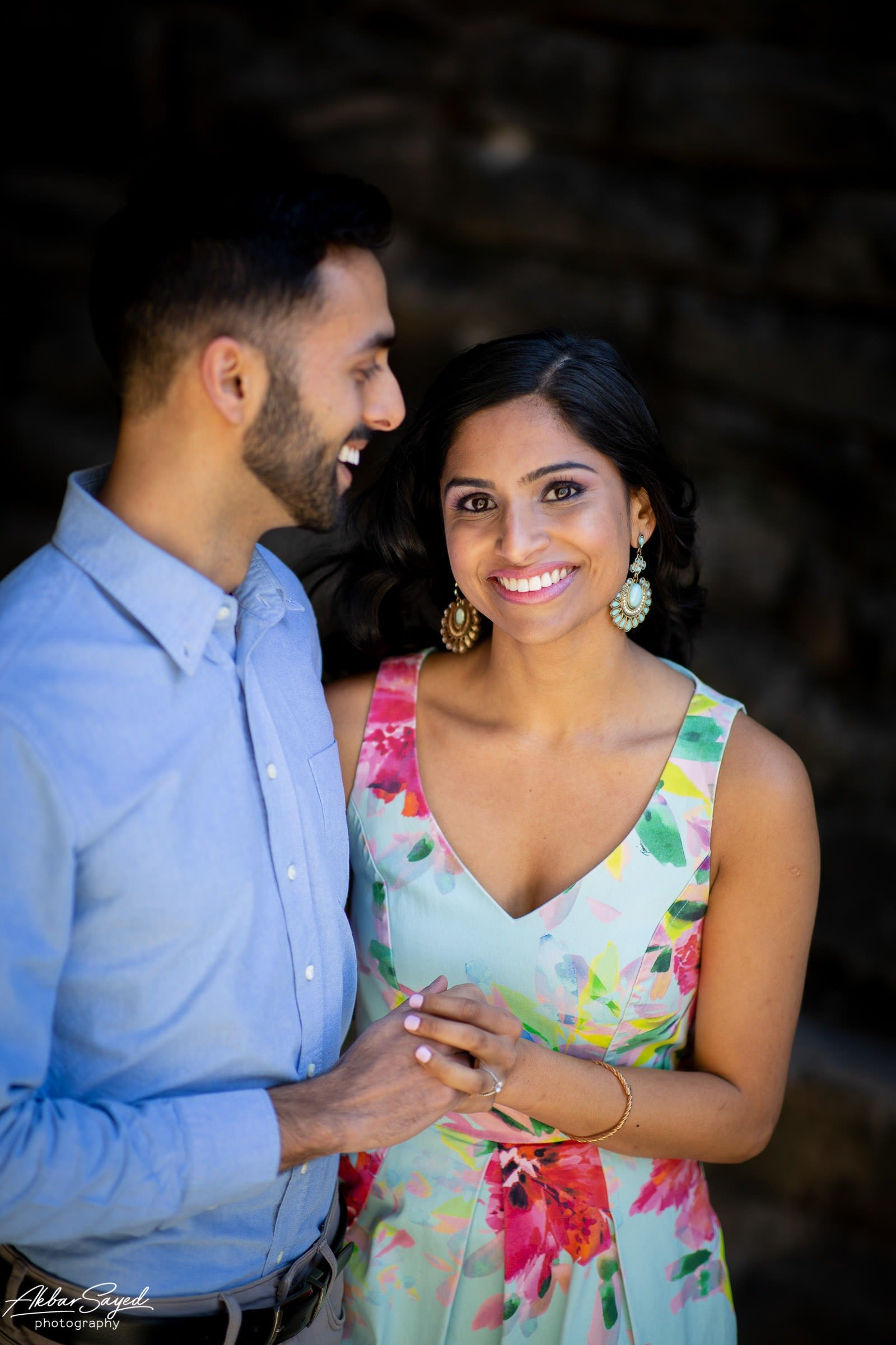 Old Town Alexandria engagement photo with an engaged Indian - American couple.