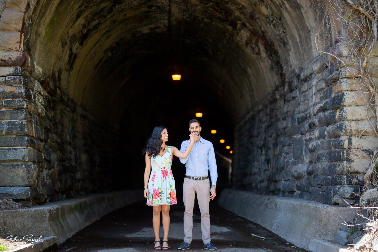 Wilkes street engagement photo with an engaged Indian - American couple.