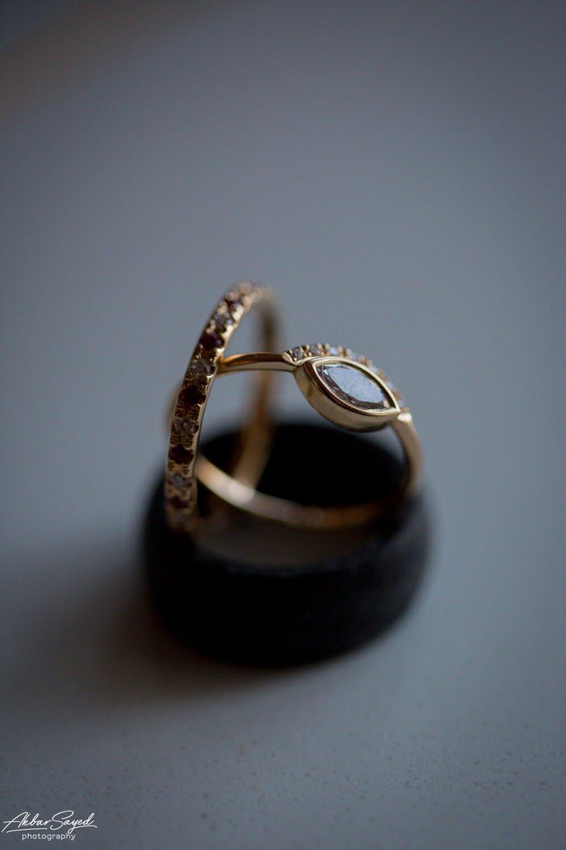 A photo of wedding rings during a Jewish - Hindu fusion wedding at the Chesapeake Bay Hyatt in Cambridge, Maryland.